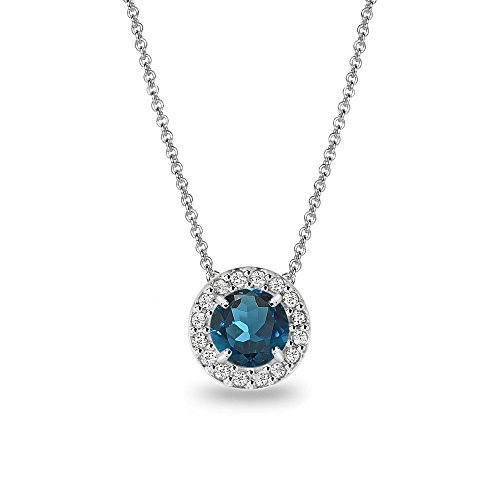 (Sterling Silver London Blue Topaz & White Topaz Round Halo Slide Necklace)
