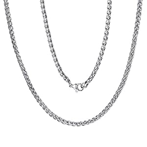 Best Epic Trends 41%2BwLC8a8aL._SS300_ ChainsPro 3/6 mm Box/Wheat/Twist Rope Necklace, Replacement Chain for Pendant/Charm, 18-30 inches, 316L Stainless Steel…