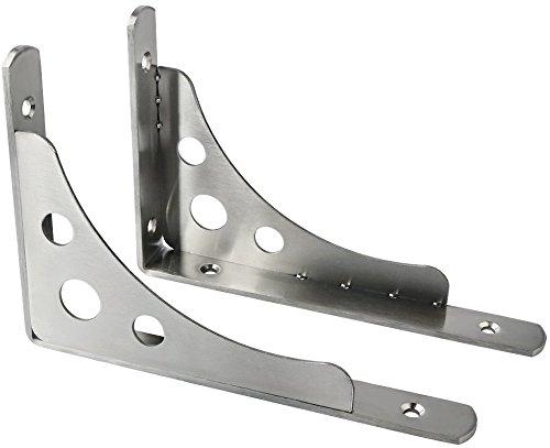 ss Steel Heavy Duty Shelf Bracket Corner Brace Support Fastener 8 x 6 Inch Wall Hanging,J5210-2P Brushed Finish ()