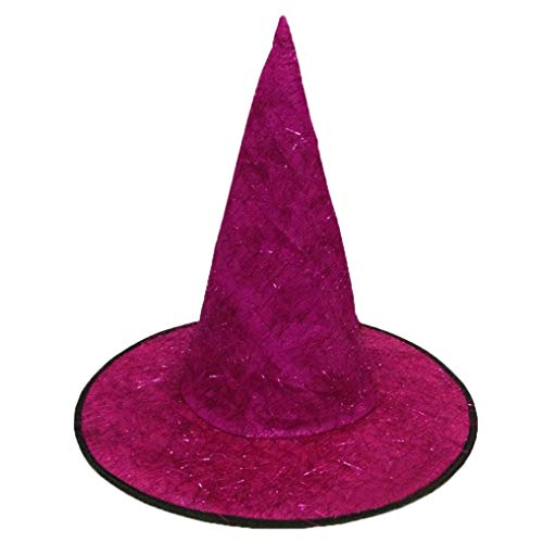 Women Men Witch Hat For Halloween GoodLock Costume Accessory Fluff Solid Cap Cosplay Party Props Decoration (Hot Pink)