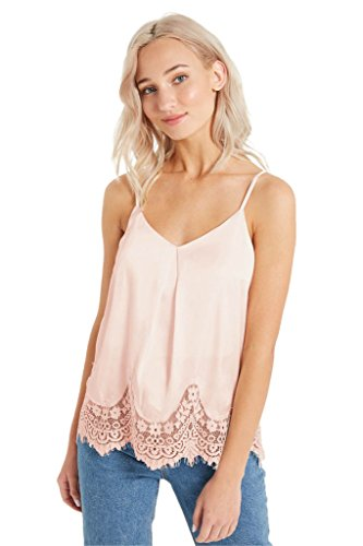 Women's Fashion Trendy Floral Lace Trim Satin Tank Straps Cami Classic Blouse Top Blush L (Turtleneck Satin)