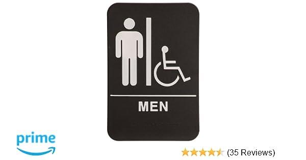 Amazoncom Men Restroom Sign BlackWhite ADA Compliant - Mens bathroom sign
