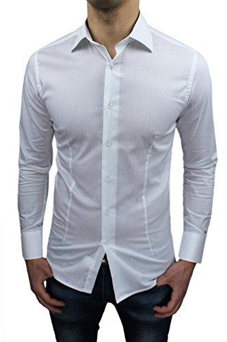 Mat Sartoriale Herren Blusen Freizeit-Hemd weiß Bianco
