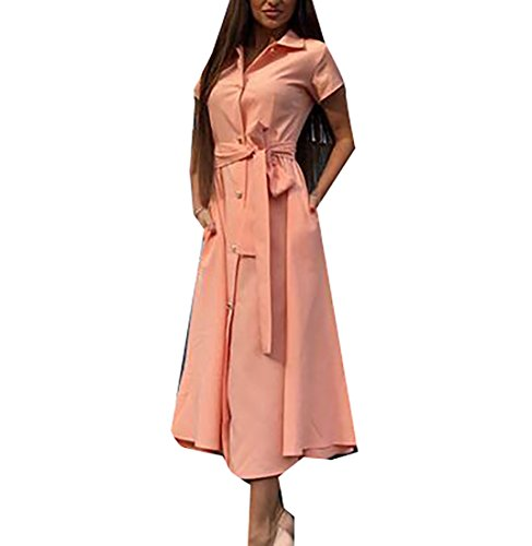 Lapel Women Buckle Maxi Cut Dress Out Solid Straps Pink Coolred XwSqPZ1xx