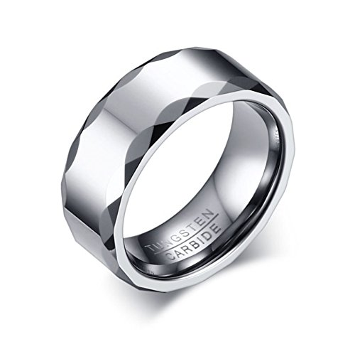 arbide Ring for Men Faceted Edge High Polished Band Comfort Fit Size 12 ()
