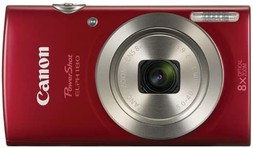 Canon PowerShot ELPH 180 20.0MP 8x Optical Zoom Digital Camera Red