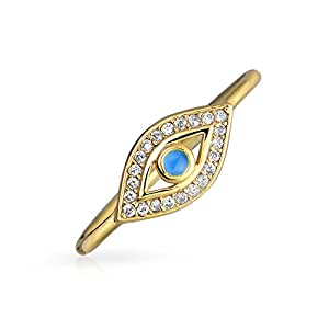 Thin Blue CZ Evil Eye Stacking Gold Plated Silver Ring