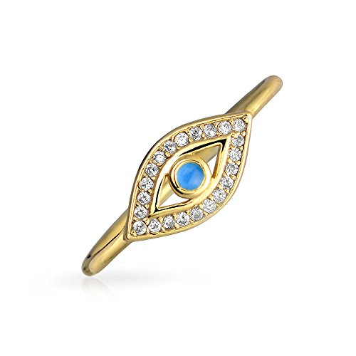 Bling Jewelry Gold Plated CZ Blue Enamel Evil Eye Stackable Ring 925 Silver