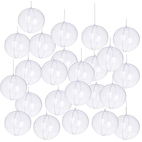 Yeelan Pack of 24pcs Clear Plastic Acrylic Fillable Ball Ornament, 60mm -