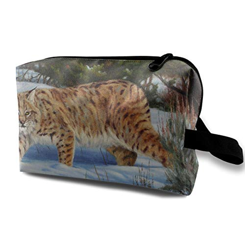 With Wristlet Cosmetic Bags Snow Day Tiger Travel Portable Makeup Bag Zipper Wallet Hangbag -