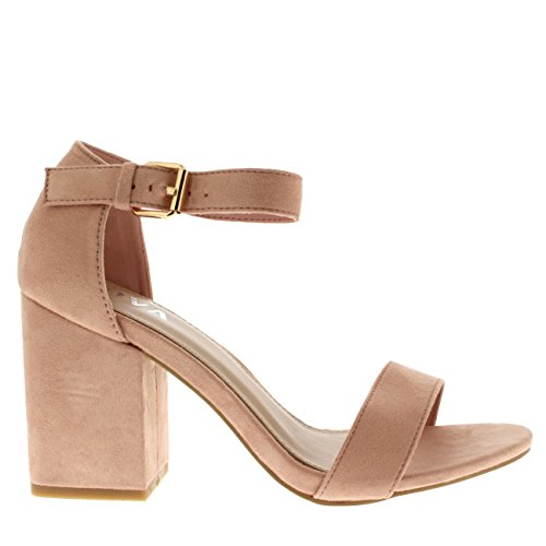 Viva Womens Wide Mid Block Heel Suede Ankle Strap Casual Shoe Sandals Pink 6usRjbgt0