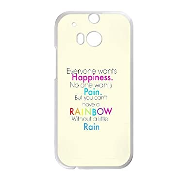 htc one m cell phone case white quotes happiness pain rainbow