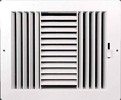 - Three-way plastic register side wall/ceiling air register with multi-shutter damper in white (6
