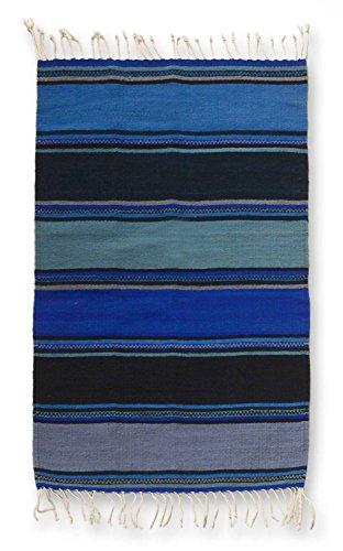 NOVICA 210401 Sky Zapotec Wool Rug, 2