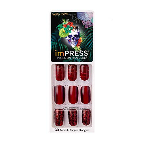 Red Glitter Halloween Nails (Impress by Kiss (1) Pack Press-On Gel Manicure Halloween Limited Edition 30 False Nails including Accents - Red Scales Pattern, Metallic Red, Glitter - Snake Skin,)