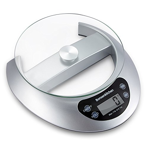 Bonsenkitchen Digital Kitchen Scale for Cooking and Baking Multifunction Scale with Removable Glass Tray, Tare & Auto Zero/Off Function, Portion Control Diet Food Scales (Batteries Included) ()