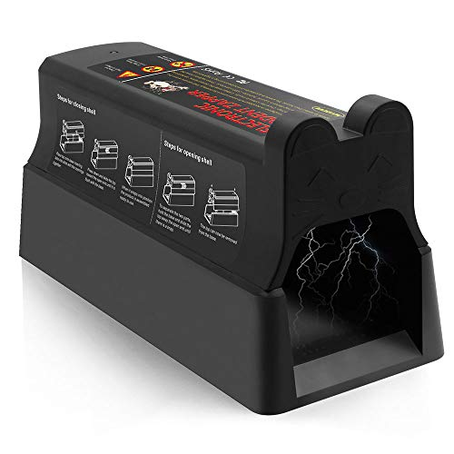 Electronic Rat trap, Mouse Squirrels Zapper Catcher, 7000 volts Clean and Humane Pest Control Traps, Safe and Easy Way to Kill Rats, Mice and Squirrels (Uses Mains Adapter Or Battery) [Upgraded]