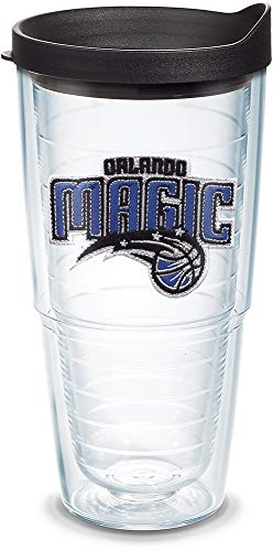 Tervis 1051594 NBA Orlando Magic Primary Logo Tumbler with Emblem and Black Lid 24oz, Clear