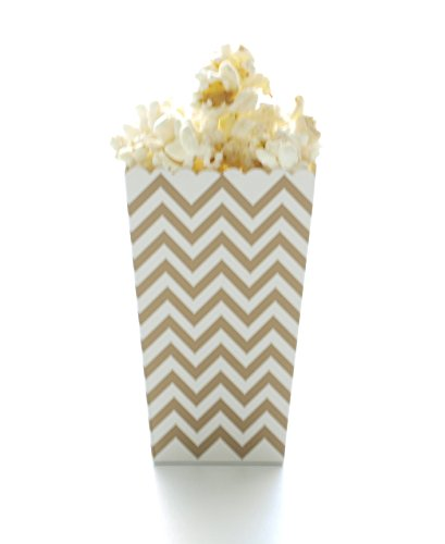 Gold Chevron Popcorn Boxes (12 Pack) - Metallic Zig Zag Open Top Movie Theater Style Popcorn Cartons for Wedding Favors & Candy Buffets (Display Candy Theater)
