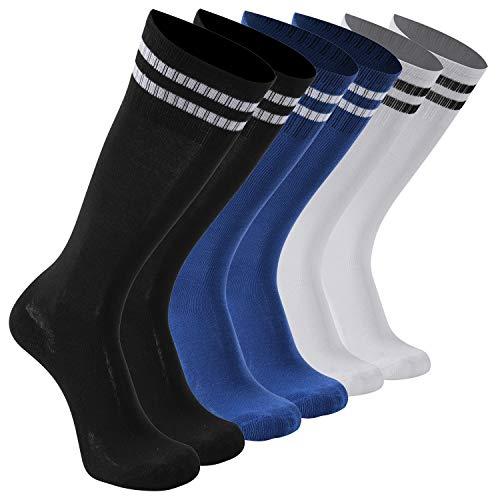 Knee High Cushioned Soccer Socks Teens Youth Football Sock Running socks 6 Pairs Black White Blue transla wonder ()