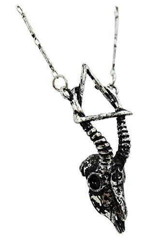 Restyle Goth Nature Silver Gazelle Skull Arsenic Alchemy Symbol Necklace