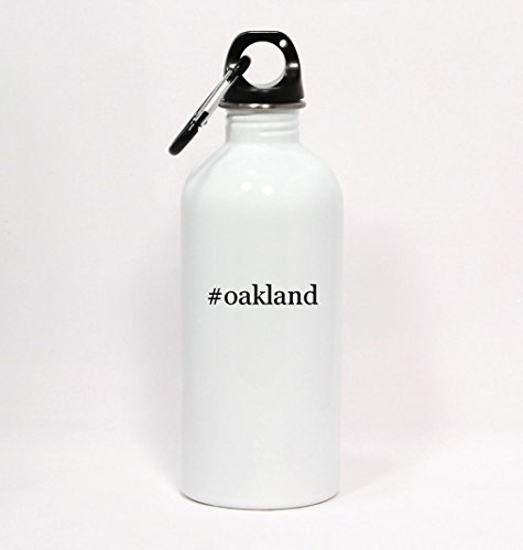 #oakland - Hashtag White Water Bottle with Carabiner 20oz