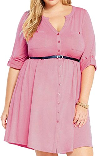up Size Button Dress Plus V Sleeve Neck Women's Cromoncent Casual Pink Roll Eqx0ZngFHw