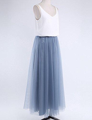 ... iiniim Damen Kleid Festlich Cocktailkleid Abendkleid Maxikleid  Brautjungfer Hochzeit Kleid Tank Top mit langes Mesh Rock ... 7fe981d735