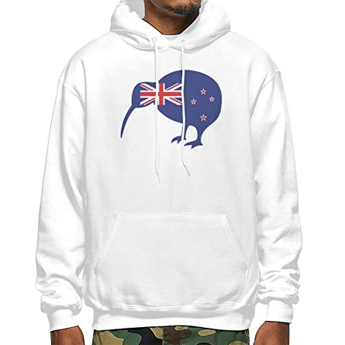 New Zealand Kiwi and Flag Men's Long Sleeve Pullover Hooded Sweatshirt with Pocket White ()