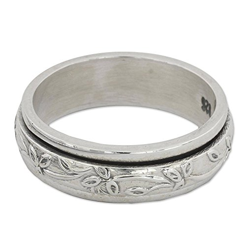 NOVICA .925 Sterling Silver Floral Meditation Spinner Ring, Spinning Leaves' ()