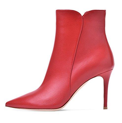 Tacco Stivaletti Stivali Con Elegante Rosso Alto Edefs Donna Zipper TBtwqxnIR