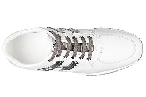 Hogan scarpe sneakers donna in pelle nuove interactive lavorata h sbizzetta bian
