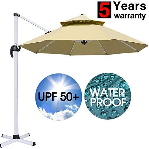 (Patiassy Waterproof No Fading Offset Umbrella, 5 Years No Fading 11 Feet Heavy Duty Double Top Patio Outdoor Umbrella, Top + No Rust Aluminum Frame)