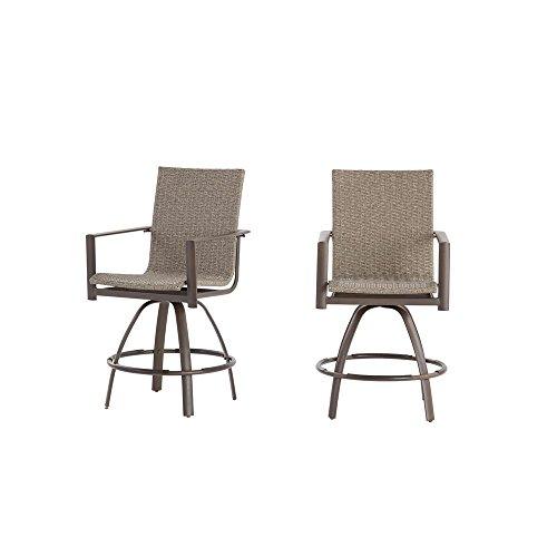 Hampton Bay 5477-SB Beckham 2-Pack Swivel Wicker Balcony Height Outdoor Bar Stool (Wicker Bay Outdoor Hampton Chairs)