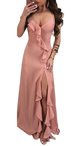 - Cutedi Womens Sexy Spaghetti Strap Sleeveless V Neck Criss Cross Backless Side Split Long Maxi Dress Evening Gown Pink S