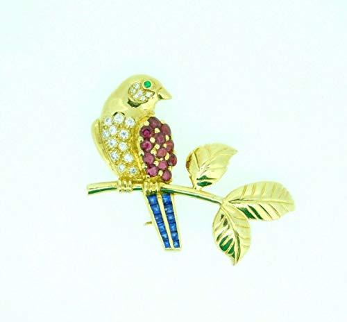18k Gold Bird on Branch Pin w/Genuine Natural Rubies Sapphires Diamonds #J4361 ()