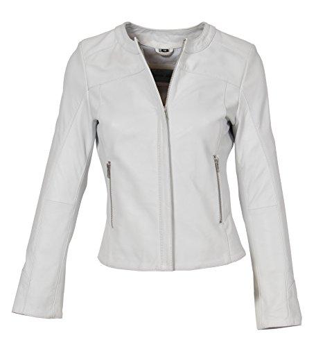 cuello escote cuero de sin Mujeres suave de capa delgada ajuste Babs Biker chaqueta blanco 5aE4Txxw