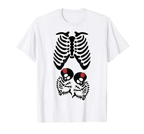 Skeleton XRAY Twins Halloween Pregnant Costume Funny Shirt