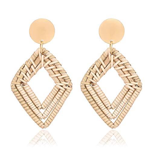 kuguwa Woven Rattan Earrings Handmade Wicker Earrings Straw Knit Hoop Earrings Lightweight Raffia Braid Drop Dangle Earring for Women Girls
