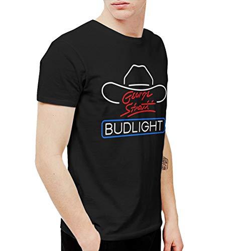 QYBFEPBEGW Men's George Strait Bud Light Fashion Running Black XXL T-Shirts Short Sleeve