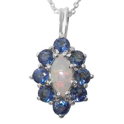 Ladies Solid 925 Sterling Silver Natural Opal & Blue Sapphire Cluster Pendant Necklace (Cluster Sapphire Blue Pendant Genuine)