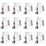 Luxrite 4 Inch Square LED Recessed Light, 10W (60W Equivalent), 4000K Cool White, 670LM, Dimmable, Retrofit LED Can Light, Energy Star & UL, Damp Rated - Perfect for Kitchen and Bathroom (12 Pack)