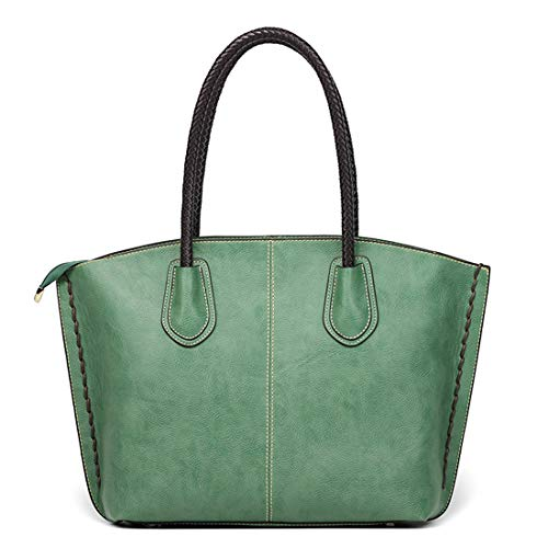 Price comparison product image AIYAMAYA Shoulder Bag Top Handle Handbag Purses for Women Tote Bag Zip Satchel Girls PU Leather Macbook Bags for Ladies (Color : Green)