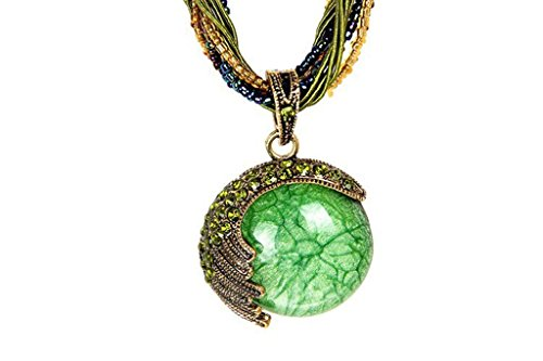 Desklets Vintage Bohemia Style Phoenix Peacock Crystal Diamond Opal Pendant Necklace(Green) (Cute Homemade Ladybug Costumes)