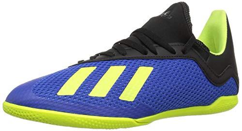 (adidas Unisex X Tango 18.3 Indoor Soccer Shoe, Football Blue/Solar Yellow/Black, 6 M US Big Kid )