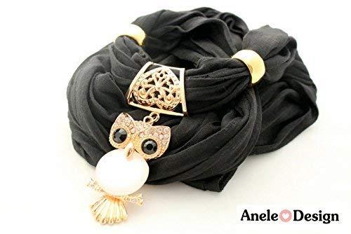 Écharpe bijoux cadeau - Hibou Owl - noir doré - idée cadeau Noël