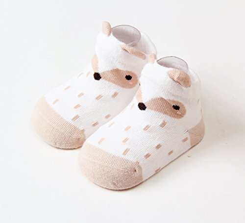 Dicry 5 Pairs Newborn 3D Ears Cartoon Animal Anti Slip Cotton Baby Toddler Socks (0-6 Months, B-Pairs of 5)