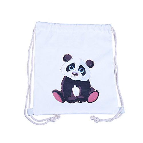 Drawstring Backpack String Sackpack Gymsack Sports Gym Cinch Bag by Ms.Camellia. (Panda Set)