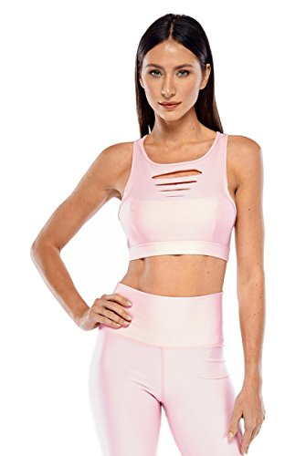 Electric Yoga Slash Bra-Pink-S Womens Active Workout Pink