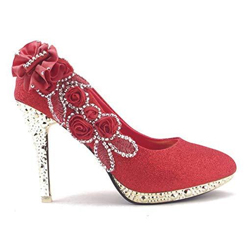 De Mariage Femme Jrenok Belle Rouge Mariée Femmes Crystal Pompes Paillettes Soirée Nuptiale Sexy High Chaussures Talons qFffUxwE